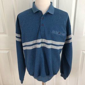 VTG Huk.A.Poo stripe long sleeve polo shirt XXL